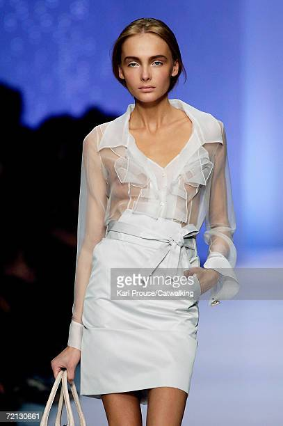 Model walks down the catwalk during the Celine Fashion Show as part of Paris Fashion Week Spring/Summer 2007 on October 5, 2006 in Paris, France.