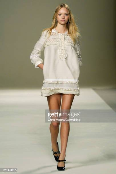 A model walks down the catwalk during the Chloe Fashion Show as part of Paris Fashion Week Spring/Summer 2007 on October 7 2006 in Paris France