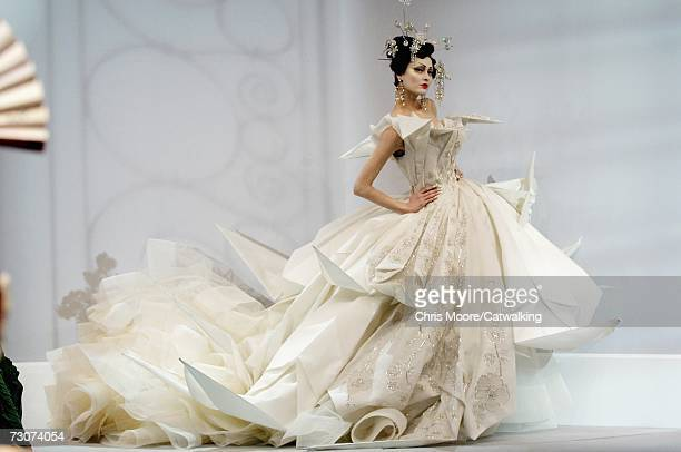 Model walks down the catwalk during the Christian Dior fashion show as part of Spring / Summer 2007 Haute Couture on January 22, 2007 in Paris,...