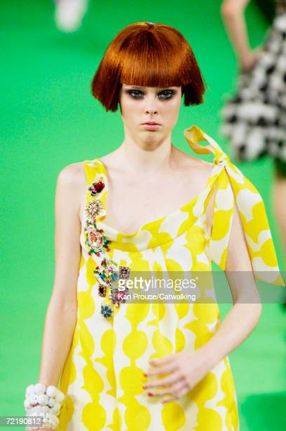 A model walks down the catwalk during the Christian Lacroix Fashion Show as part of Paris Fashion Week Spring/Summer 2007 on October 6 2006 in Paris...