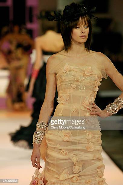 A model walks down the catwalk during the Christian Lacroix fashion show as part of Spring / Summer 2007 Haute Couture on January 23 2007 in Paris...