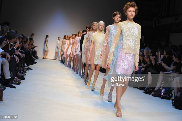 Model walks down the catwalk during the Christopher Kane fashion show as part of London Fashion Week at the Topshop Venue on September 21, 2009 in...