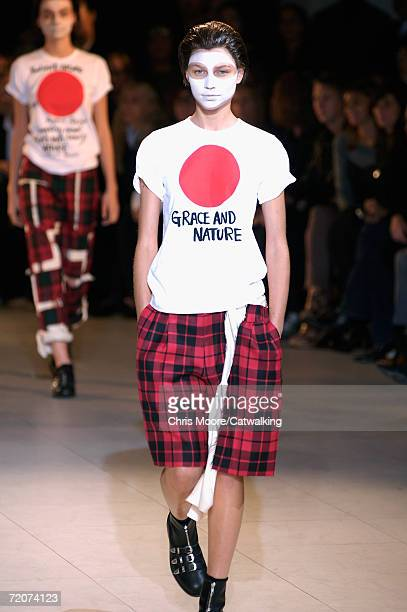 A model walks down the catwalk during the Comme Des Garcons Fashion Show as part of Paris Fashion Week Spring/Summer 2007 on October 2 2006 in Paris...