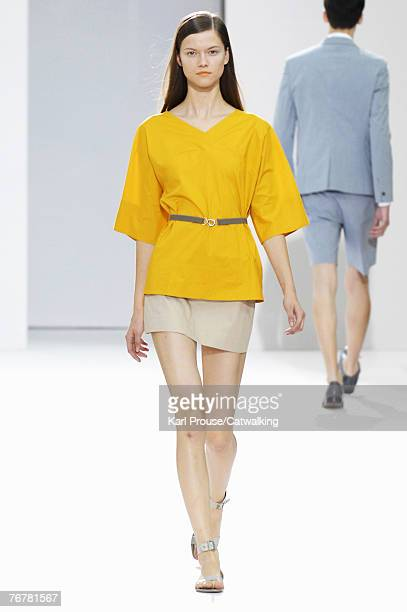 A model walks down the catwalk during the Cos show during the London Fashion Week 2007 on September 15 2007 in London England