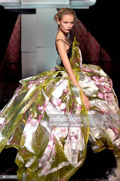 Model walks down the catwalk during the Dolce & Gabbana Spring/ Summer 2008 collection part of Milan Fashion Week on September 27, 2007 in Milan,...