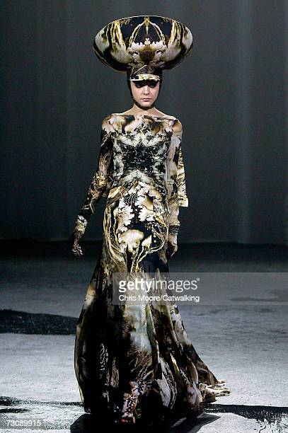 A model walks down the catwalk during the Givenchy fashion show as part of Spring / Summer 2007 Haute Couture on January 23 2007 in Paris France