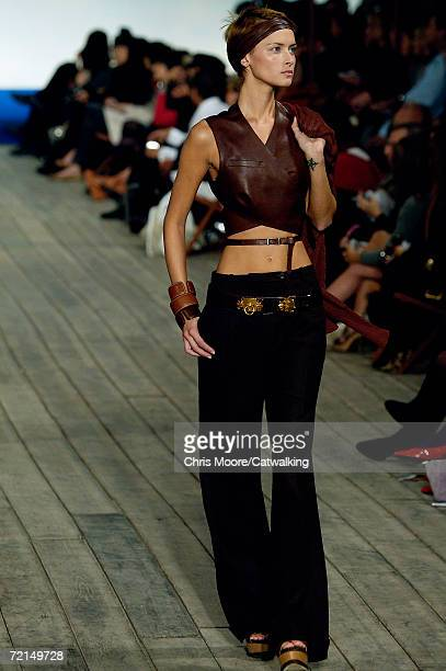 A model walks down the catwalk during the Hermes Fashion Show as part of Paris Fashion Week Spring/Summer 2007 on October 7 2006 in Paris France