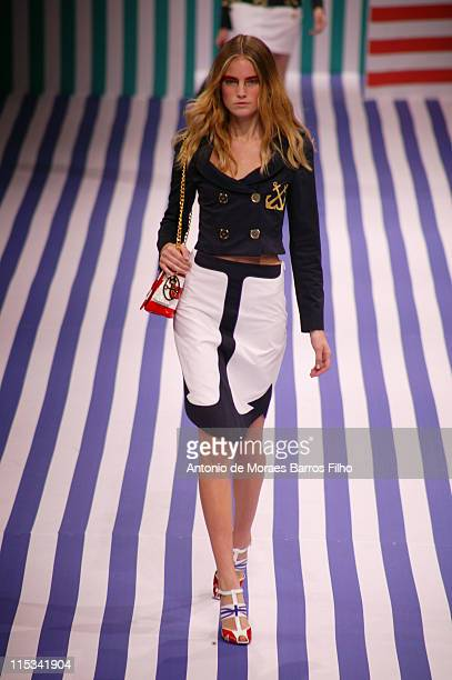 A Model walks down the catwalk during the JeanCharles De Castelbajac Spring/Summer 2008 show at Paris Fashion Week 2007 on October 4 2007 in Paris...