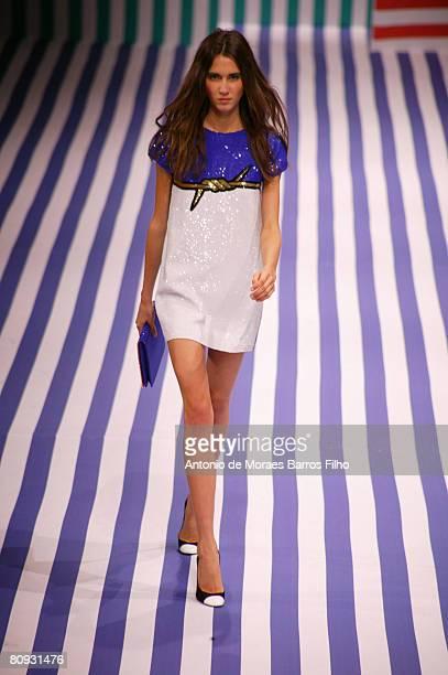 Model walks down the catwalk during the JeanCharles De Castelbajac Spring/Summer 2008 show at Paris Fashion Week 2007 on October 4 2007 in Paris...