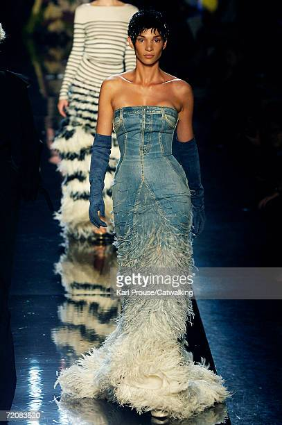 1f71d8cee03 A model walks down the catwalk during the JeanPaul Gaultier Retro Fashion  Show as part of