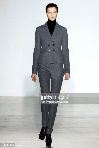 Model walks down the catwalk during the Jil Sander fashion show as part of Milan Fashion Week Autumn/Winter 2007 on February 20, 2007 in Milan, Italy.