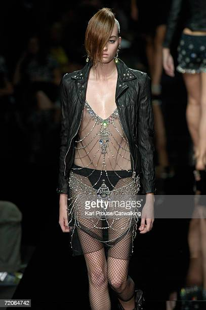 A model walks down the catwalk during the John Richmond Fashion Show as part of Milan Fashion Week Spring/Summer 2007 on September 28 2006 in Milan...