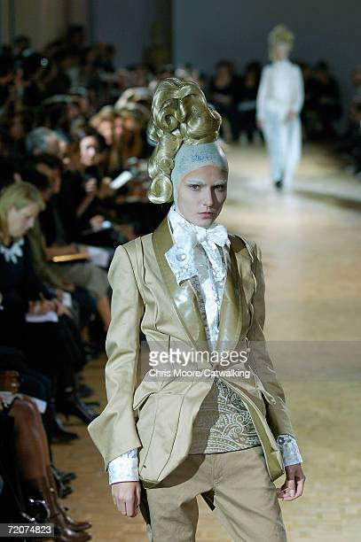 A model walks down the catwalk during the Junya Watanabe Fashion Show as part of Paris Fashion Week Spring/Summer 2007 on October 2 2006 in Paris...