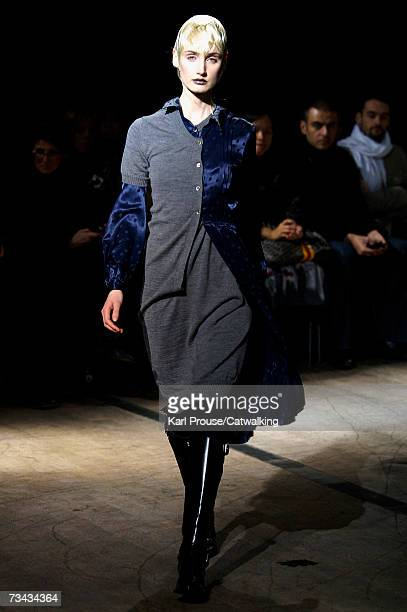 Model walks down the catwalk during the Junya Watanabe fashion show as part of Paris Fashion Week Autumn/Winter 2008 on February 27, 2007 in Paris,...