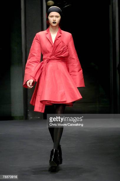 Model walks down the catwalk during the Krizia fashion show as part of Milan Fashion Week Autumn/Winter 2007 on February 19, 2007 in Milan, Italy.