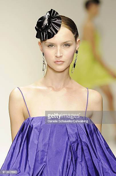 Model walks down the catwalk during the Krizia fashion show as part of Milan Womenswear Fashion Week Spring/Summer 2010 on September 24, 2009 in...