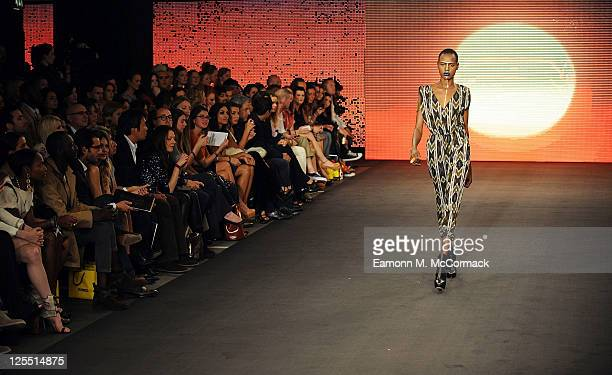 A model walks down the catwalk during The Launch Of House Of Dereon By Beyonce And Tina Knowles at Selfridges on September 17 2011 in London England