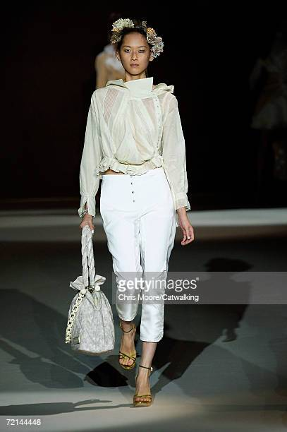 A model walks down the catwalk during the Louis Vuitton Fashion Show as part of Paris Fashion Week Spring/Summer 2007 on October 8 2006 in Paris...