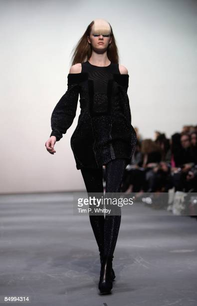 Model walks down the catwalk during the Louise Goldin show, as part of London Fashion Week a/w 2009 at the Topshop Venue, University of Westminster...