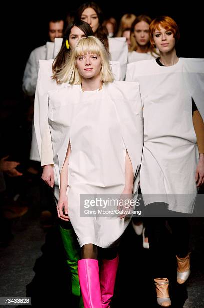 Model walks down the catwalk during the Maison Martin Margiela fashion show as part of Paris Fashion Week Autumn/Winter 2008 on February 26, 2007 in...