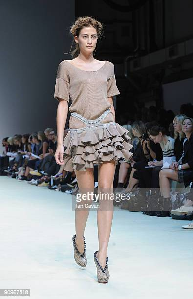 Model walks down the catwalk during the Mark Fast fashion show at the Topshop Venue, University of Westminster, on September 19, 2009 in London,...