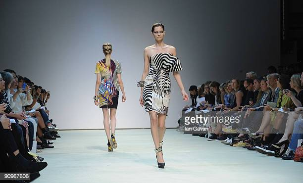 A model walks down the catwalk during the Mary Katrantzou fashion show at the Topshop Venue University of Westminster on September 19 2009 in London...