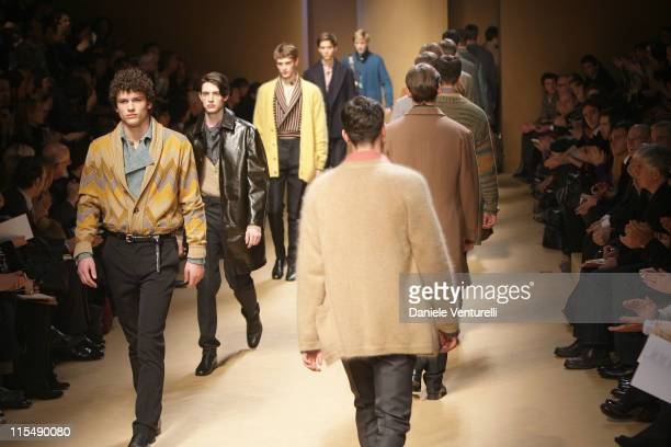 A model walks down the catwalk during the Missoni fashion show as part of Milan Fashion Week Autumn/Winter 2008/2009 on January 12 2008 in Milan Italy