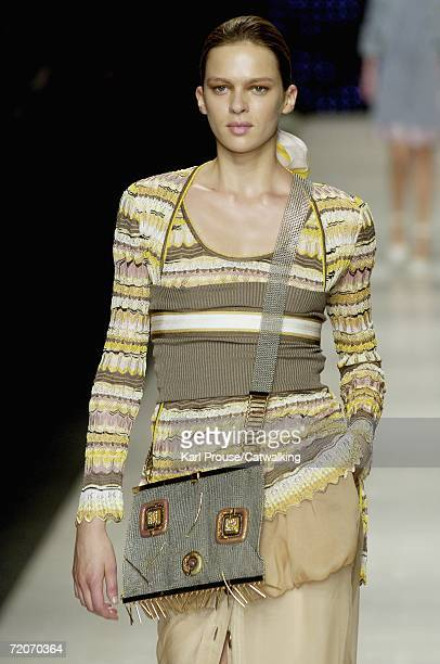 Model walks down the catwalk during the Missoni fashion show as part of Milan Fashion Week Spring/Summer 2007 on September 30, 2006 in Milan, Italy.