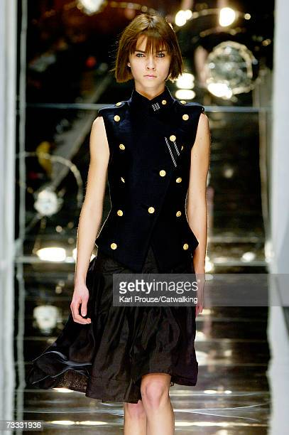 A model walks down the catwalk during the Noir Autumn/Winter 2007 show during London Fashion Week on February 12 2007 in London England