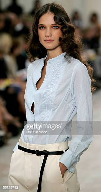 Model walks down the catwalk during the Paul Smith Women fashion show as part of London Fashion Week Spring/Summer 2006 at the Royal Horticultural...