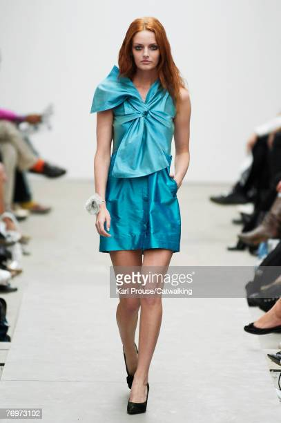 A model walks down the catwalk during the Peter Jensen Spring Summer 2008 collection show part of the London Fashion Week on the 16th of September...
