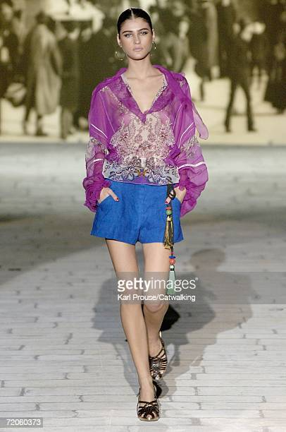 A model walks down the catwalk during the Roberto Cavalli fashion show as part of Milan Fashion Week Spring/Summer 2007 on September 30 2006 in Milan...