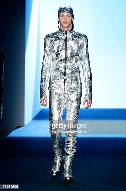 A model walks down the catwalk during the Thierry Mugler fashion show as part of Paris Menswear Autumn/Winter 2007 on January 30 2007 in Paris France