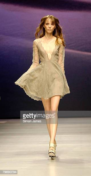 Model walks down the catwalk during the Topshop Unique LFW Autumn/Winter 2008/09 show at London Fashion Week 2008 at the University of Westminster on...