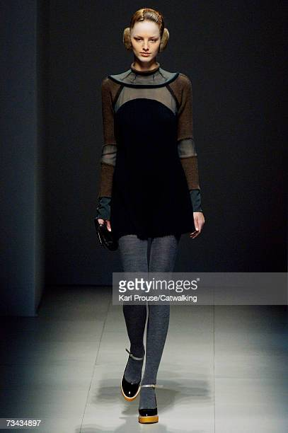 Model walks down the catwalk during the Undercover fashion show as part of Paris Fashion Week Autumn/Winter 2008 on February 26, 2007 in Paris,...