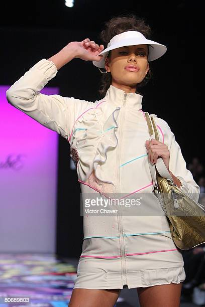 A model walks down the catwalk wearing Chabe by Laura Carrillo during Fashion Week Mexico Autumn/Winter 2008 at Centro Cultural Estacion Indianilla...