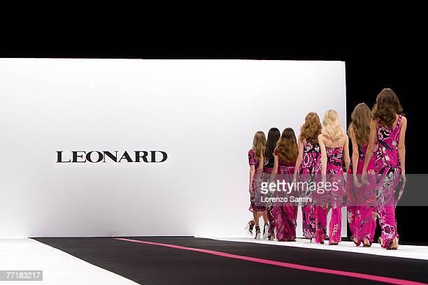 Model walks down the catwalk wearing Leonard Spring/Summer 2008 Collection on October 4 2007 in Paris