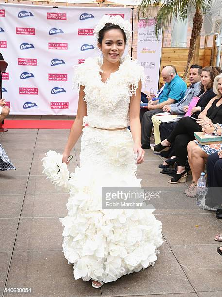 A model walks down the runway at 12th Annual Toilet Paper Wedding Dress Fashion Show at Haven Rooftop at The Sanctuary Hotel on June 16 2016 in New...