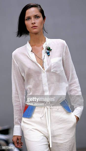 Model walks down the runway at the Aquascutum fashion show as part of London Fashion Week Spring/Summer 2006 at Banqueting House, Whitehall on...