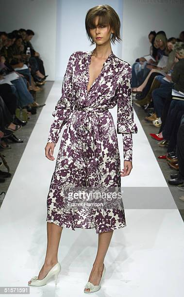A model walks down the runway at the Arthur Mendonca Collection Spring 2005 show at the MercedesBenz Fashion Week at Smashbox Studios in Culver City...