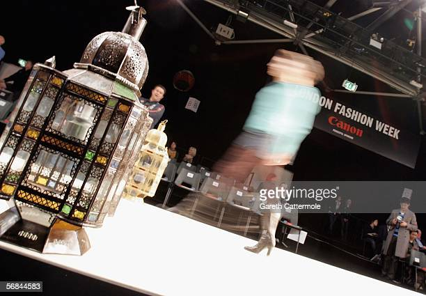 Model walks down the runway at the Ashley Isham fashion show as part of London Fashion Week Autumn/Winter 2006/7 at the Natural History Museum on...