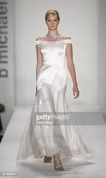 Model walks down the runway at the B Michael Couture Spring 2005 fashion show during the Olympus Fashion Week Spring 2005 at the Bryant in Bryant...