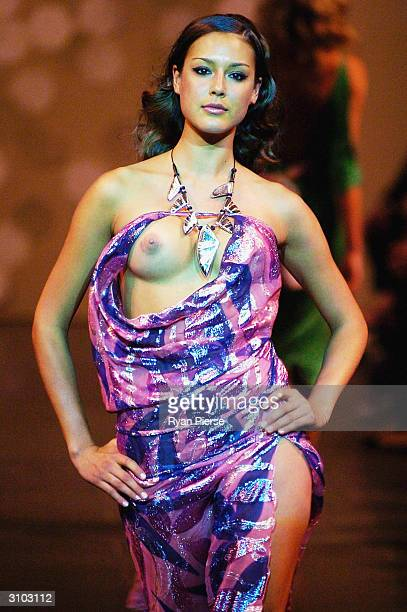 A model walks down the runway at the Belinda Fairbanks show during the L'Oreal Melbourne Fashion Festival at the Melbourne GPO March 17 2004 in...