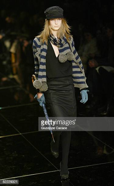 A model walks down the runway at the Burberry fashion show as part of Milan Fashion Week Autumn/Winter 2005/06 on February 22 2005 in Milan Italy