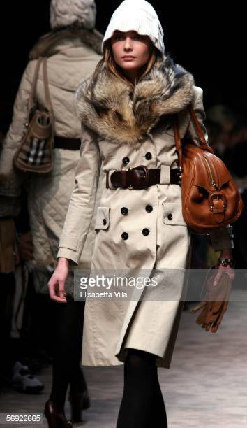 Model walks down the runway at the Burberry show on the sixth day of Milan Fashion Week readytowear womenswear collections Autumn/Winter 2006/7 on...