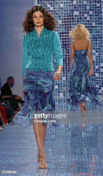 Model walks down the runway at the Carlos Miele show during Olympus Fashion Week Spring 2005 in Bryant Park September 12, 2004 in New York City.