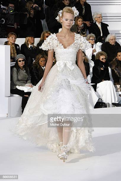 A model walks down the runway at the Chanel fashion show as part of Paris Fashion Week Spring/Summer 2006 on January 24 2006 in Paris France