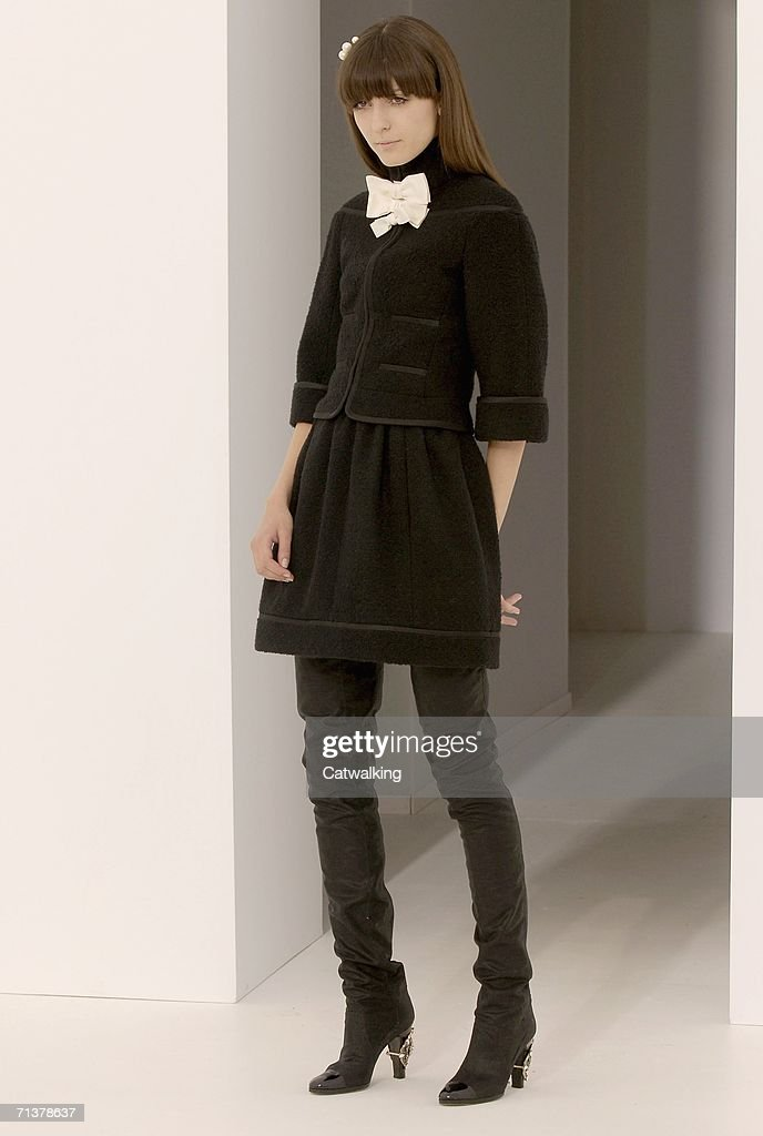 Model walks down the runway at the Chanel show as part of Paris Haute Couture Collections on July 6, 2006 in Paris, France.