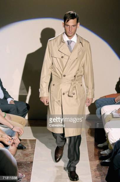 Model walks down the runway at the Daks show as part of Milan Menswear Spring/Summer 2007 Collections on June 27 2006 in Milan Italy