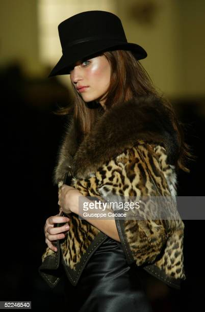 Model walks down the runway at the DSquared2 fashion show as part of Milan Fashion Week Autumn/Winter 2005/6 on February 26, 2005 in Milan, Italy.